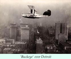 To larger photo of the 'Buckeye' over Detroit