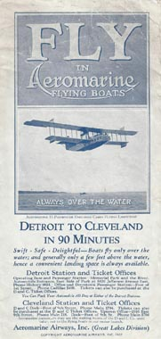 Aeromarine Airways timetable, 1922
