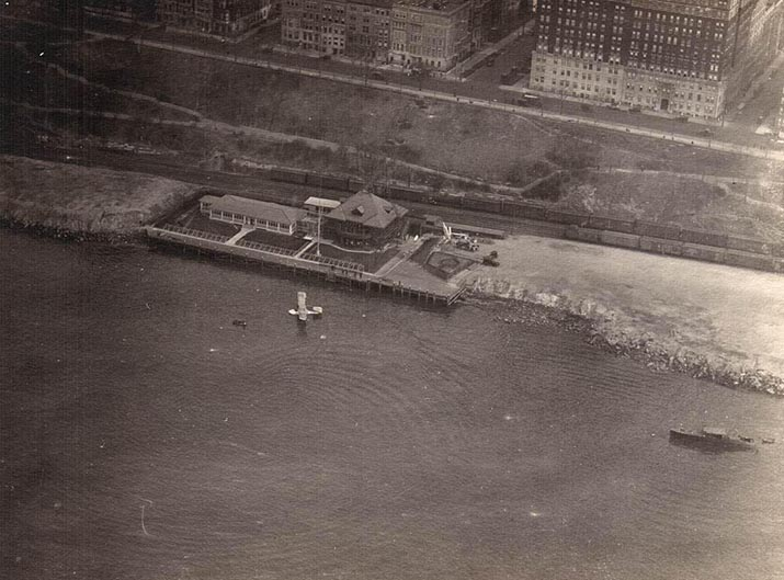 Aerial view of the Aeromarine airport in New York (Columbia Yacht Club)