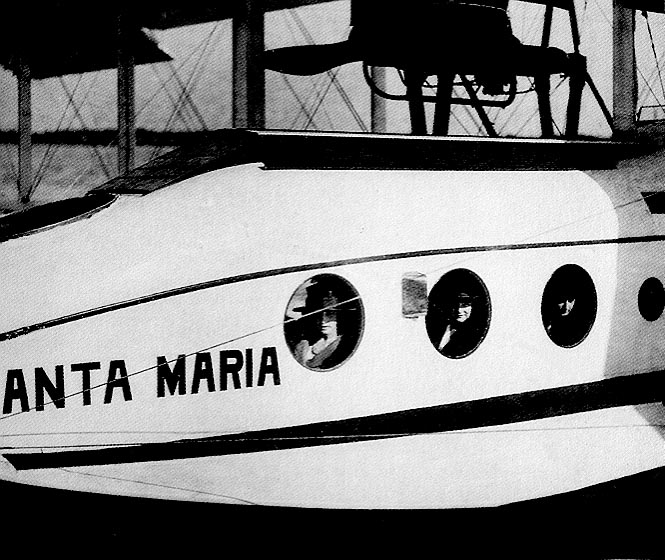 Passengers looking out of the 'Santa Maria'