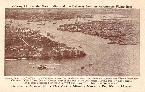 Aeromarine postcard with flying boats over Havana, 1922
