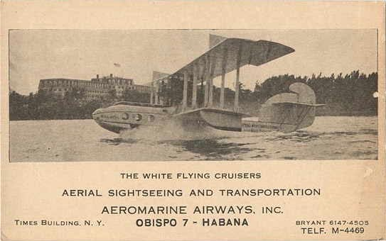 Aeromarine postcard of the 'Balboa' in Miami, 1922