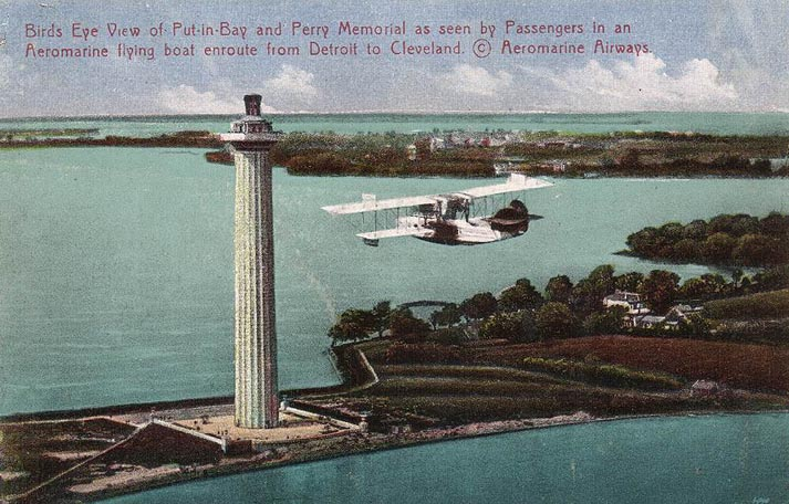 Aeromarine postcard with an Aeromarine Model 75 over Put-in-Bay, Ohio, 1922