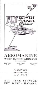 Aeromarine West Indies Airways timetable, 1920