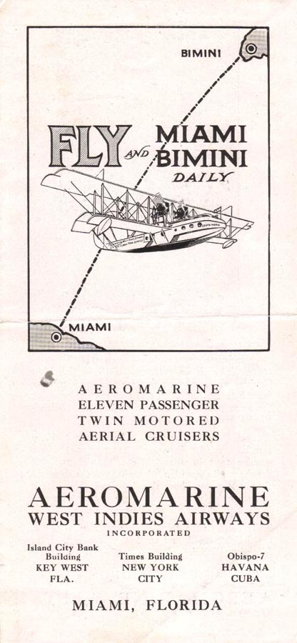 Aeromarine West Indies Airways timetable, 1921 (front cover)