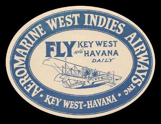 Aeromarine West Indies Airways baggage label, 1921