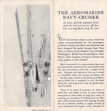 Aeromarine Sightseeing & Navigation Co. brochure, 1920