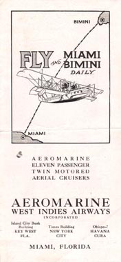 Aeromarine West Indies Airways timetable, 1921